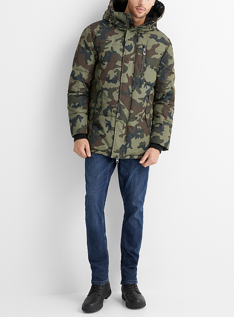 Noize Patterned Green Noah camo parka for men