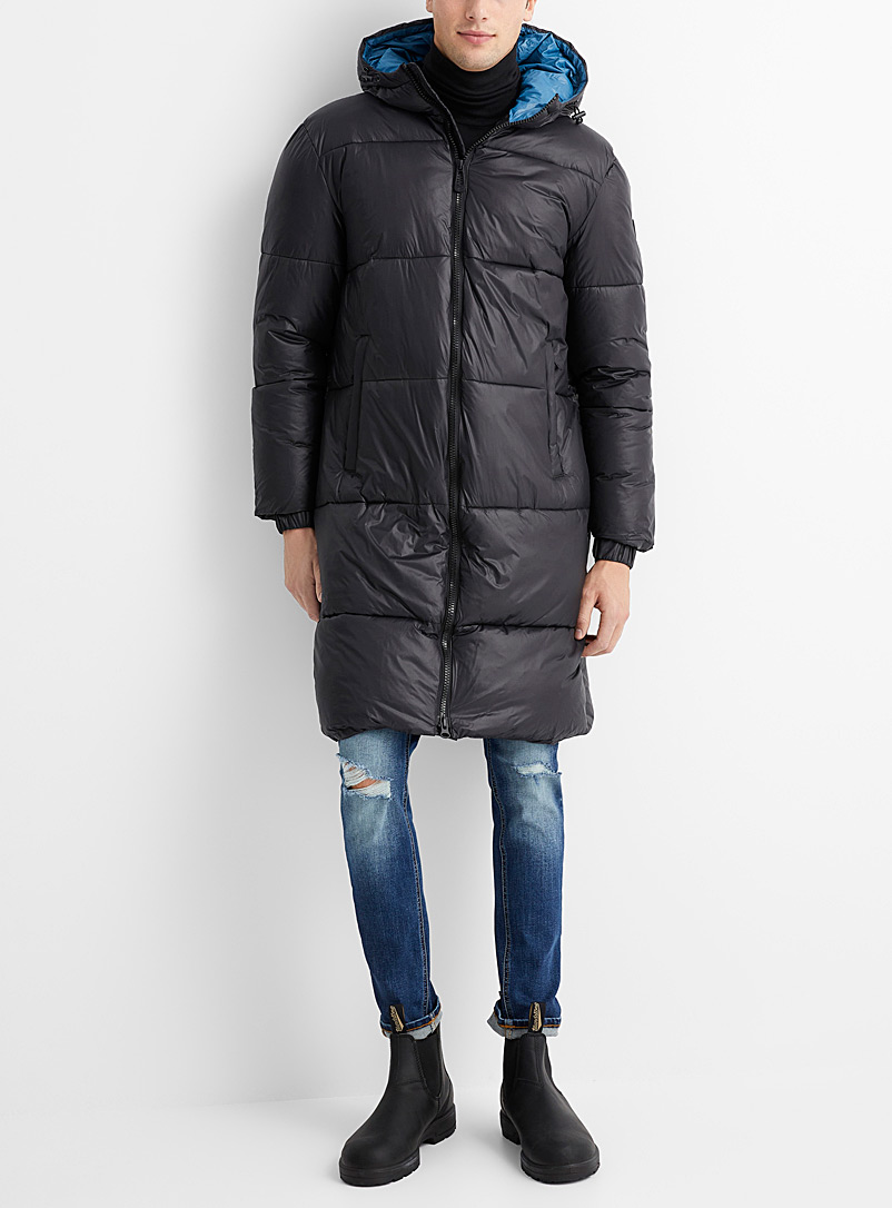 Noize Black Emerson long quilted parka for men