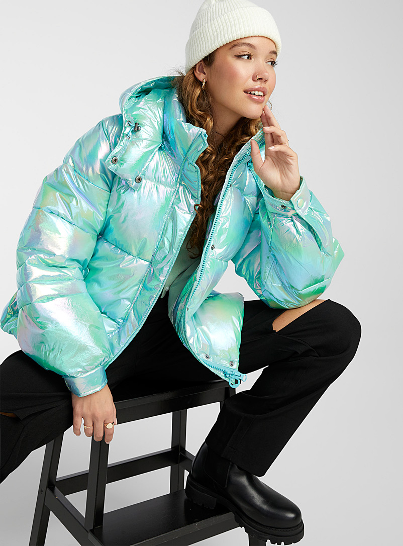 Noize Kelly Green Rumour holographic puffer jacket for women