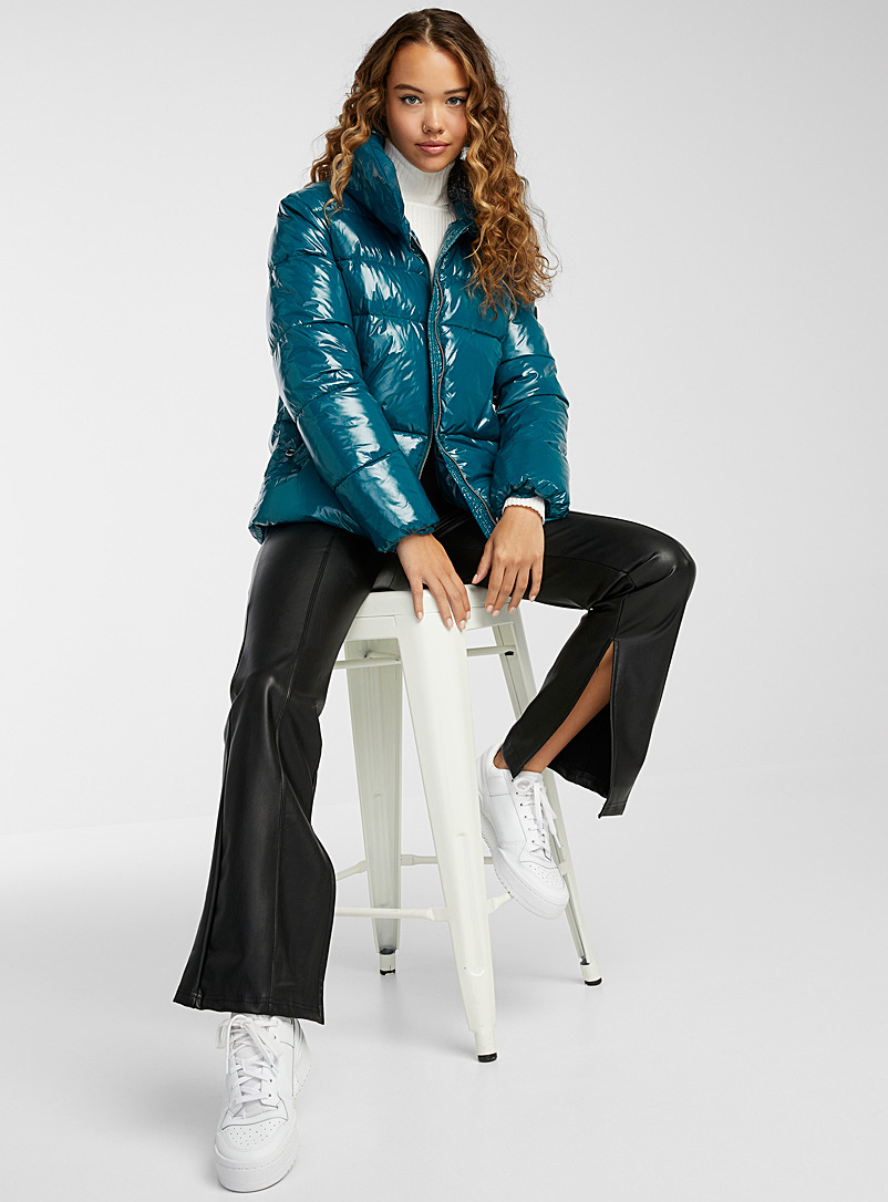 Noize Teal Goldie shiny cropped puffer jacket for women