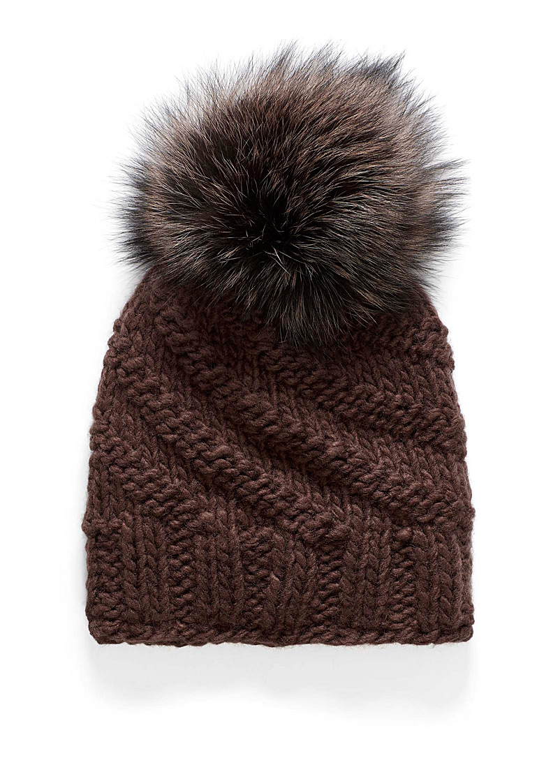 Soft pompom solid tuque - Tuques & Berets - Brown