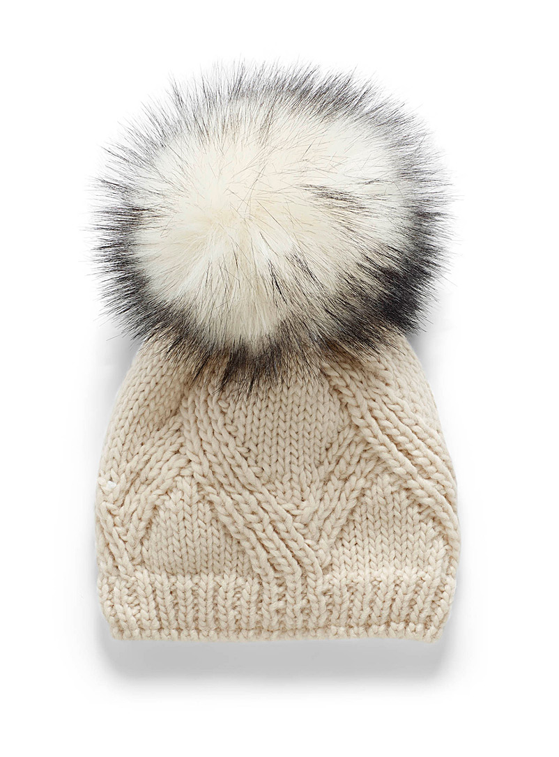 Kyikyi Cream Beige Oversized pompom tuque for women
