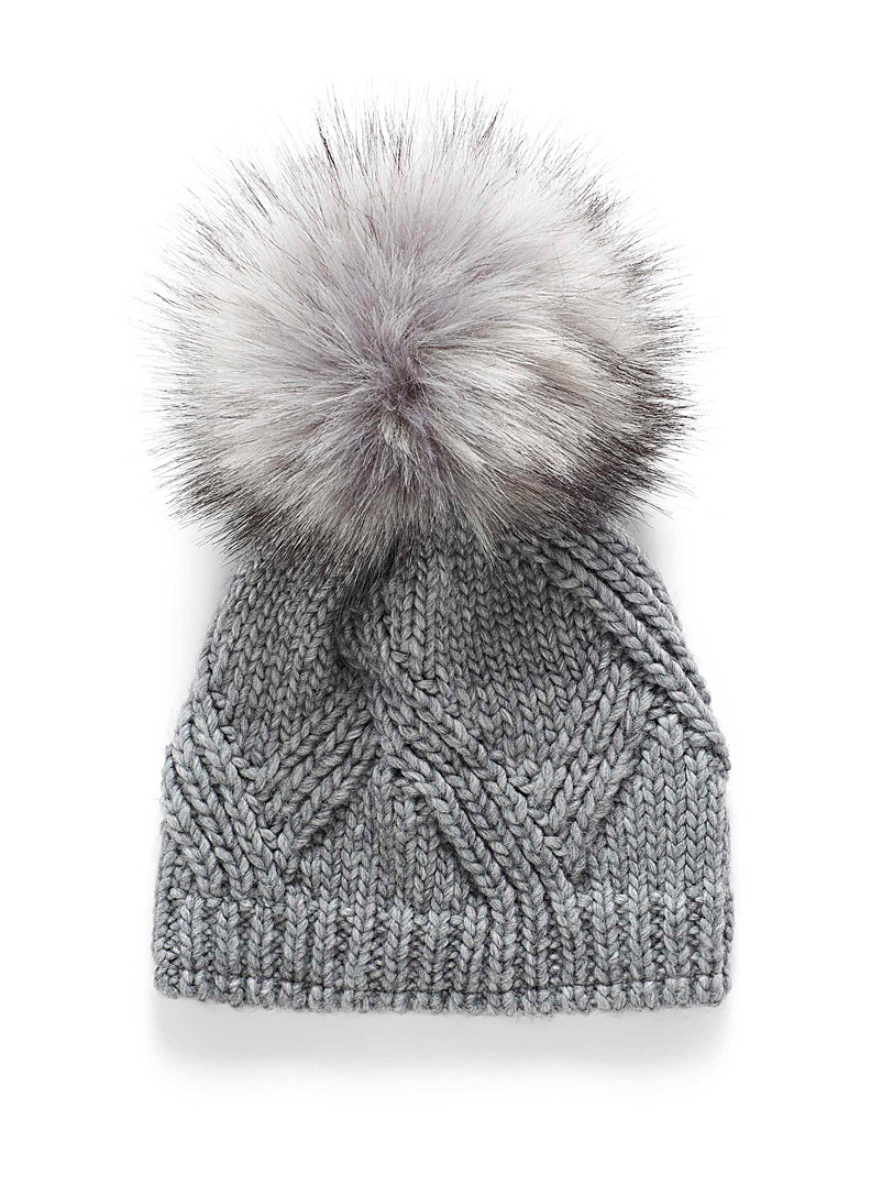 Kyikyi Grey Oversized pompom tuque for women
