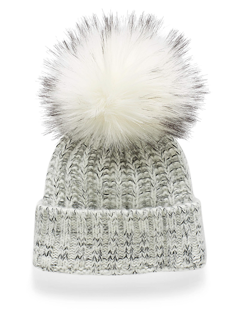 Kyikyi White Maxi pompom ribbed-knit tuque for women