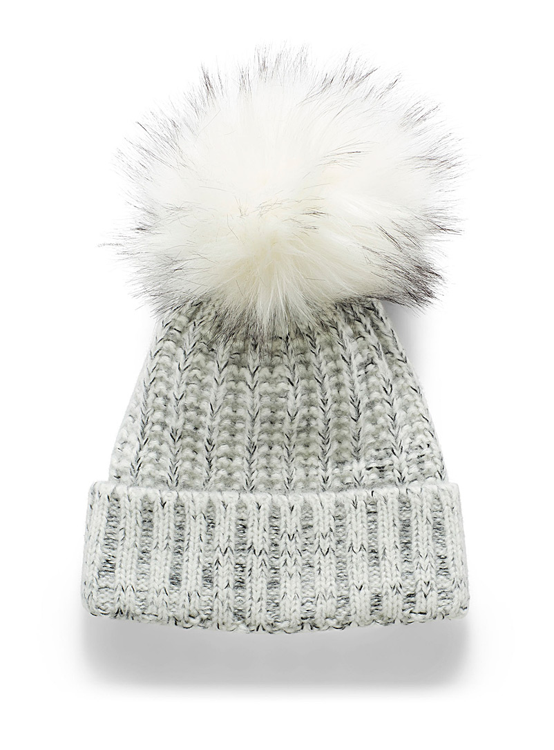 Kyikyi Light grey Ribbed knit heather tuque for women
