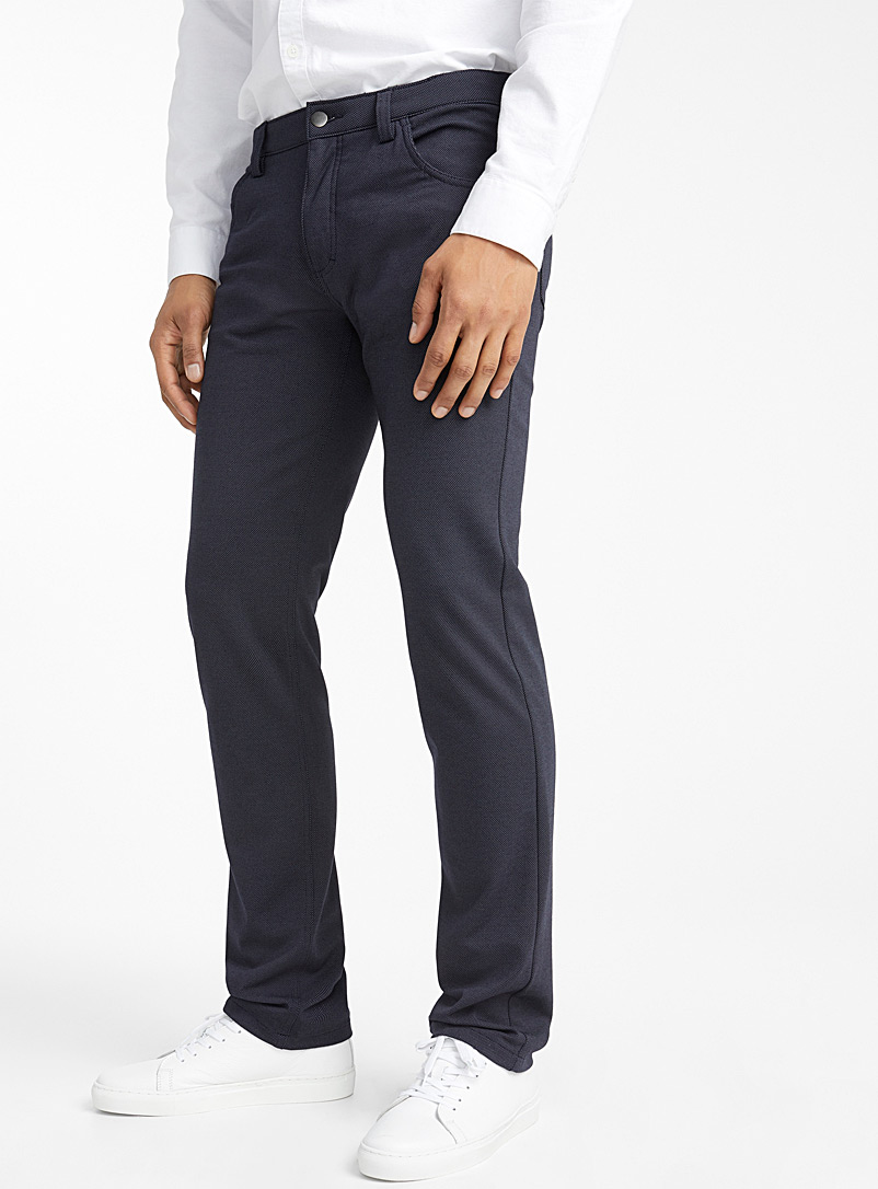 Le 31 Marine Blue Piqué dot pant  Slim fit for men