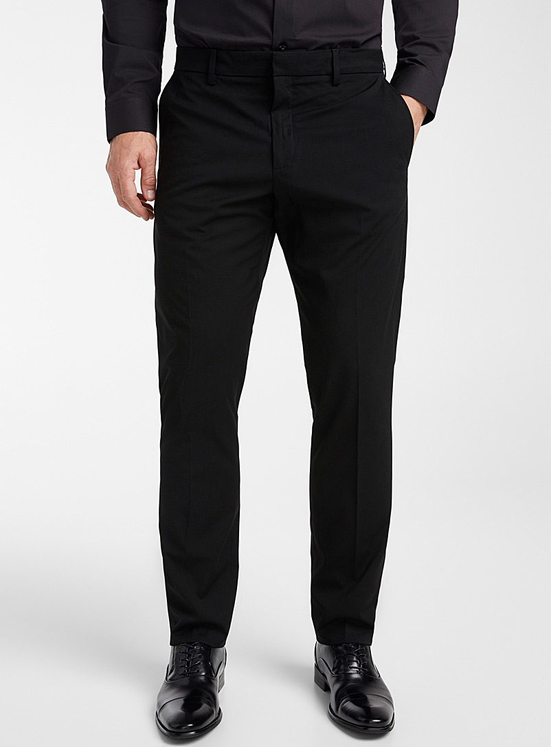 Le 31 Black Solid stretch pant  London fit - Slim straight for men