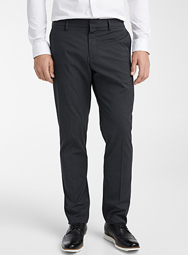 Le 31 Charcoal Solid stretch pant  London fit - Slim straight for men
