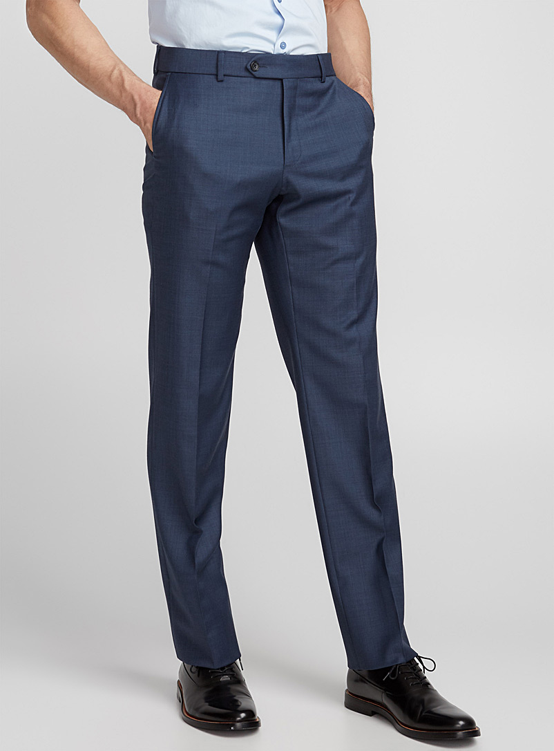 Pure wool chambray pant  Straight fit - Tailored - Blue