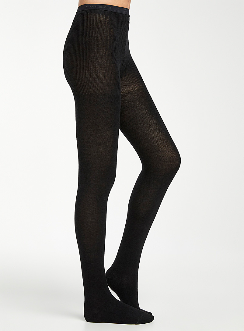Mondor Black Solid merino tights for women