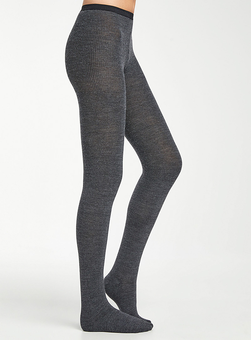 Mondor Marine Blue Solid merino tights for women