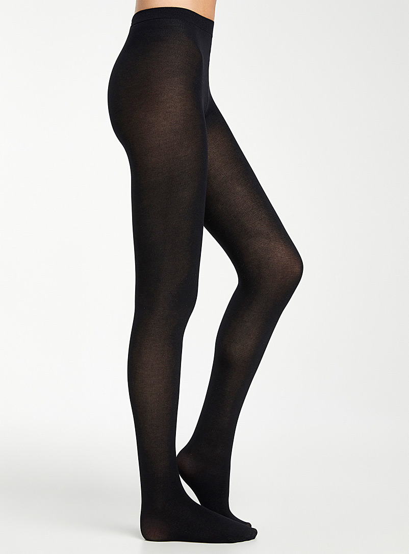 Thin stretch cotton tights - Tights - Black