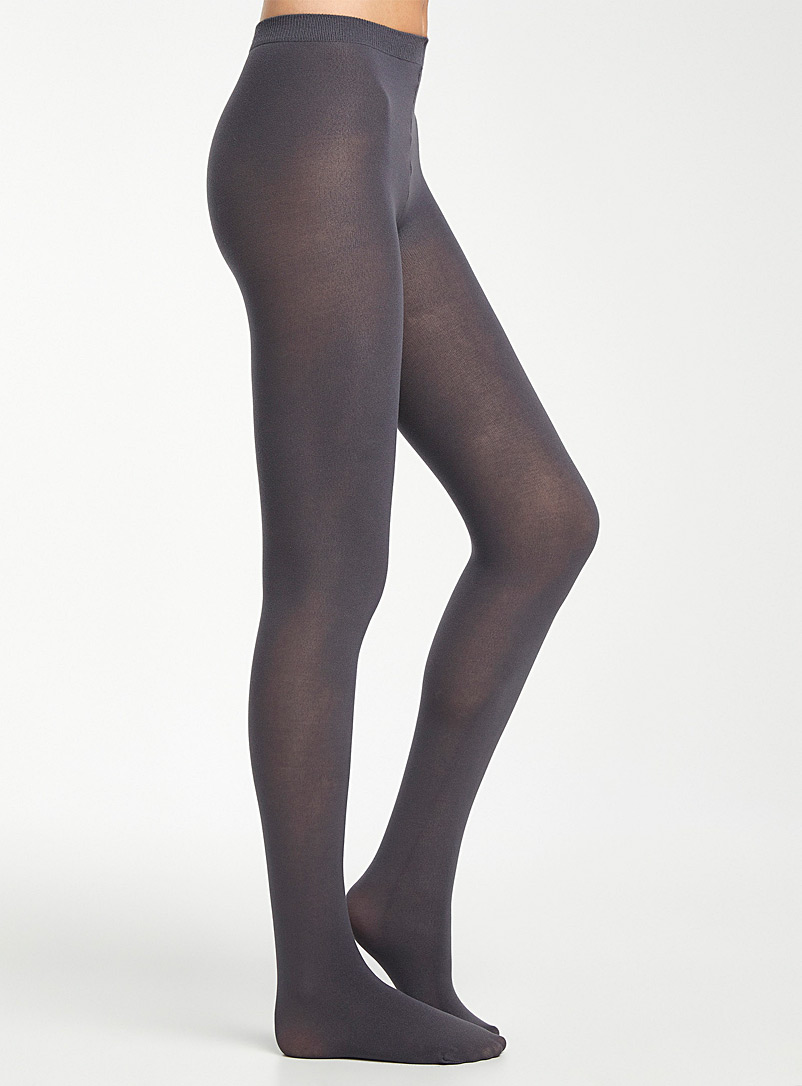 Simons Black Thin stretch cotton tights for women
