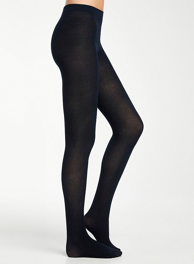 Thin stretch cotton tights - Tights - Marine Blue