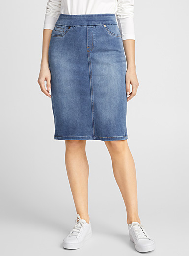 Denim sheath skirt