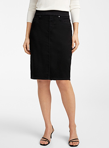 Wide waist denim skirt