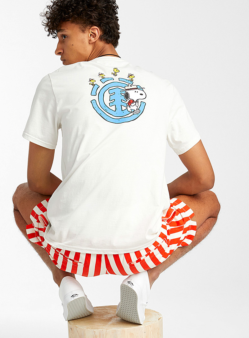 Element Ivory White Scout Snoopy and Woodstock T-shirt for men