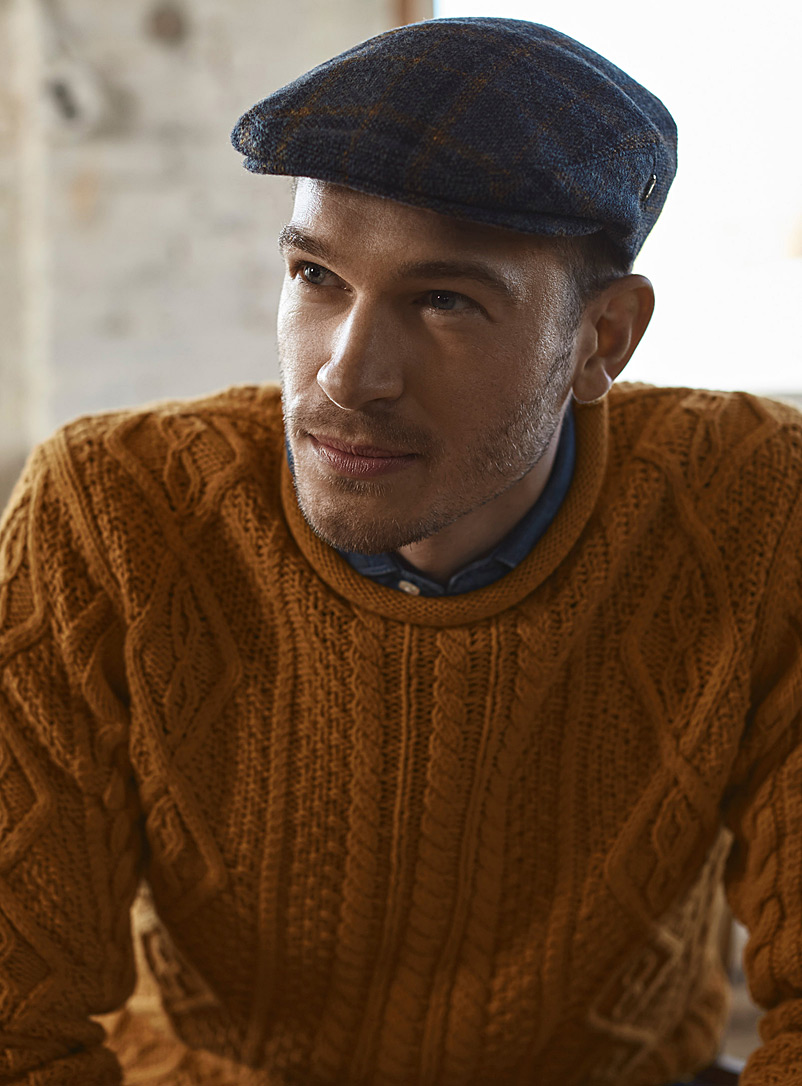 City Sport Patterned Blue Heritage tweed driving cap for men