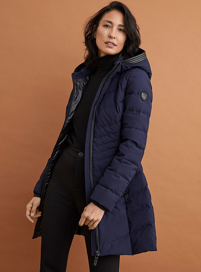 Rudsak Marine Blue Kara fitted quilted parka for women