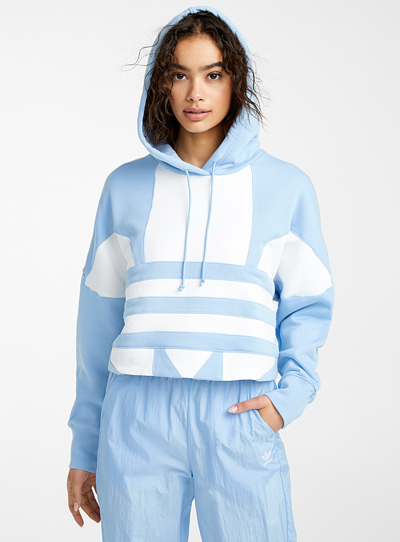 Adidas Originals Baby Blue Mega-logo cropped hoodie for women