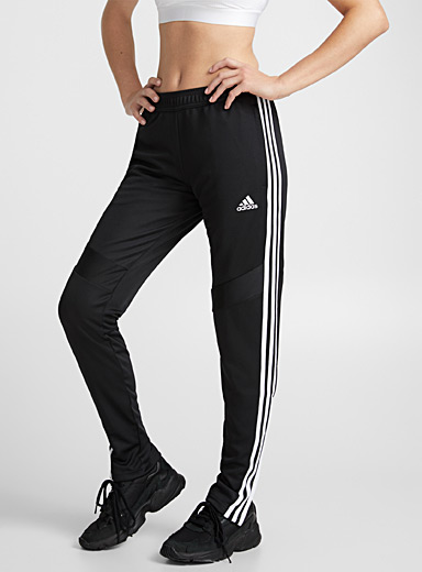 Adidas Black and White Tiro athletic-stripe pant for women