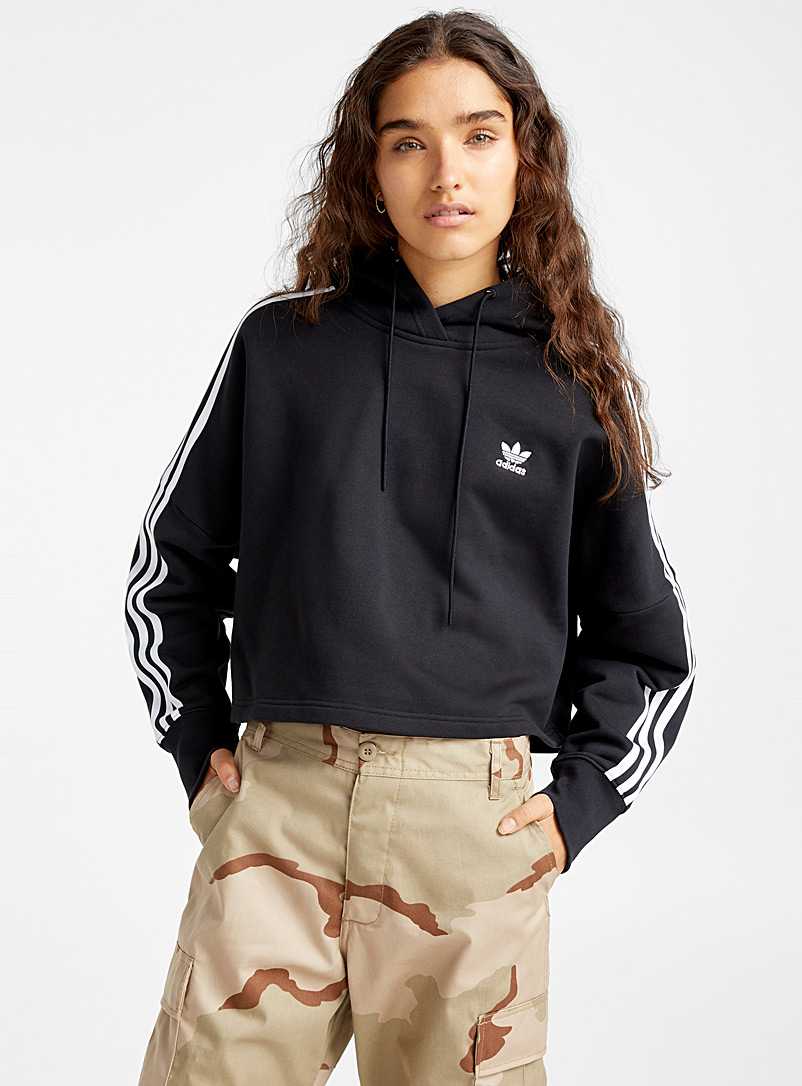 Adidas Originals Black Cropped accent stripe sweatshirt for women