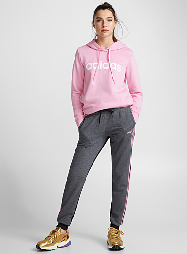 Pink-stripe terry joggers