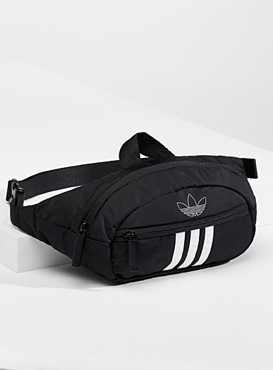 Adidas Originals Black Iconic stripe belt bag for men