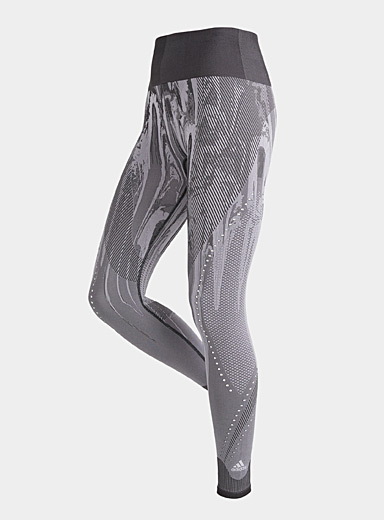 Adidas Patterned Black PrimeKnit abstract jacquard legging for women