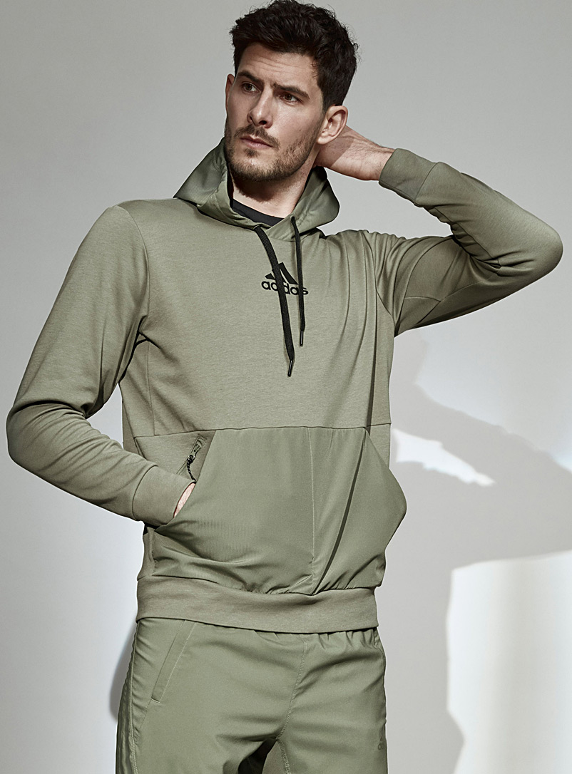 Adidas Khaki Ripstop pocket hooded sweatshirt for men