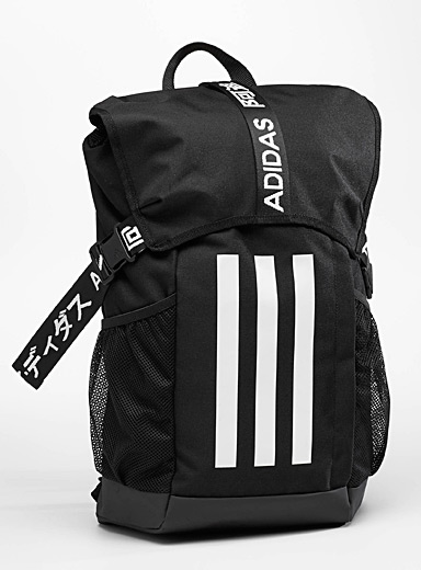 Adidas Black Signature three-stripe backpack for men