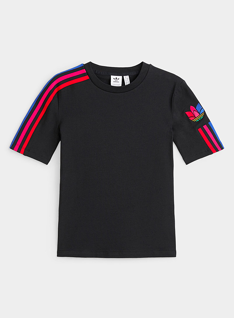 Adidas Originals Patterned Black Pop signature stripe tee for women