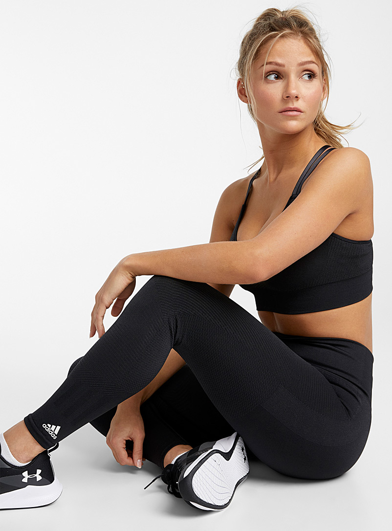 Adidas Black PrimeKnit black embossed 7/8 legging for women
