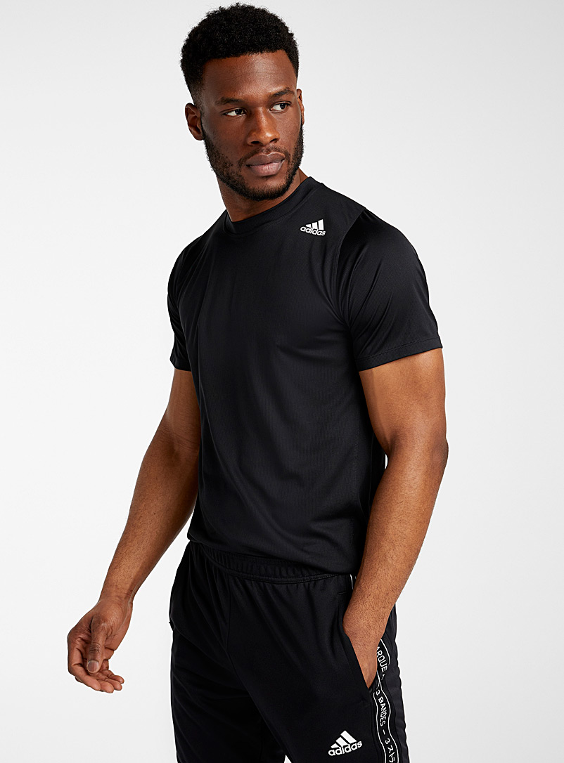 Adidas Black Three-stripe micro piqué tee for men