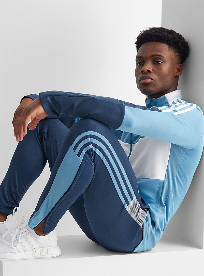 Adidas Patterned Blue Tiro navy mesh-accent piqué pant for men