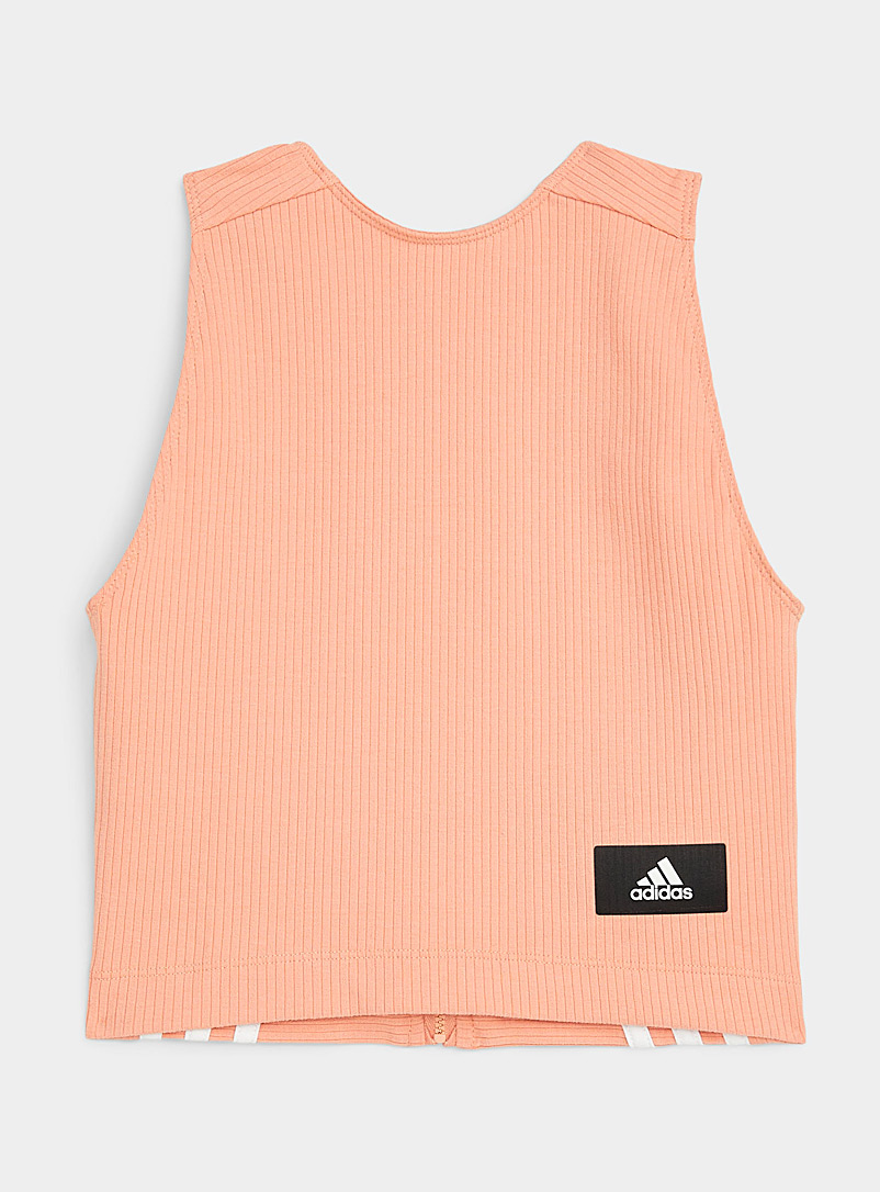 Adidas Peach Plunge-back fitted cropped cami for women
