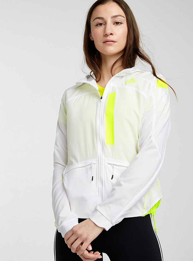 Adidas White Neon accents hooded jacket for women