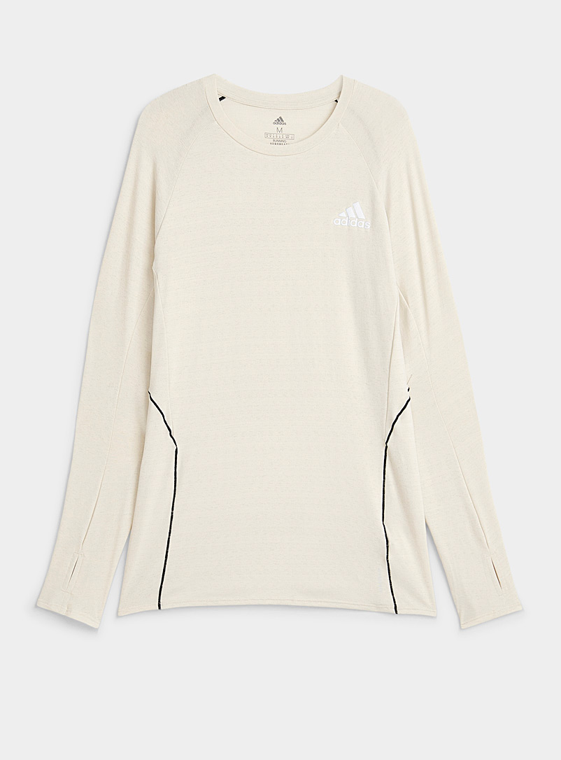 Adidas Cream Beige Cream active jersey long-sleeve tee for men