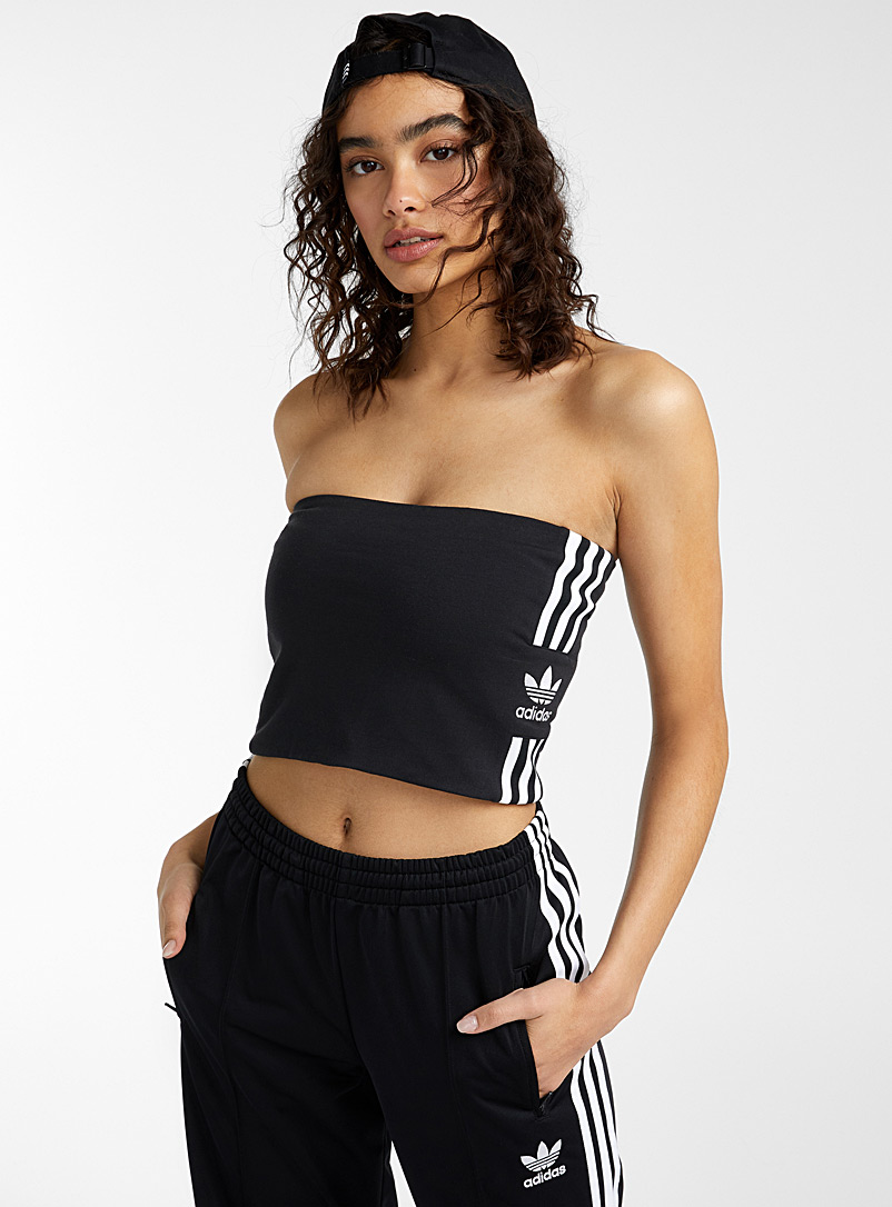 Adidas Originals Black and White Three-stripe tube top for women