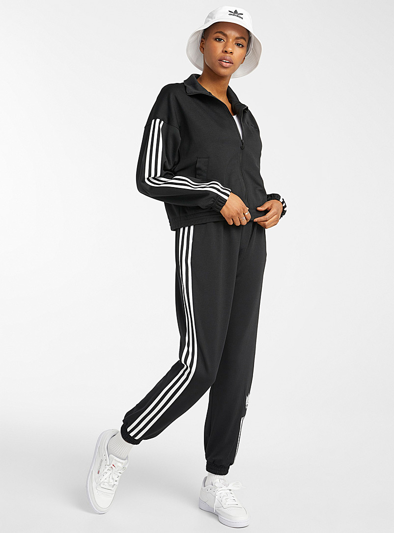 Adidas Originals Black Recycled polyester 3-stripe joggers for women