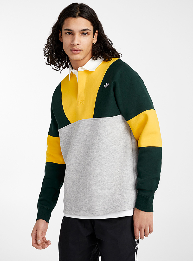 Adidas Originals Golden Yellow Graphic rugby polo for men