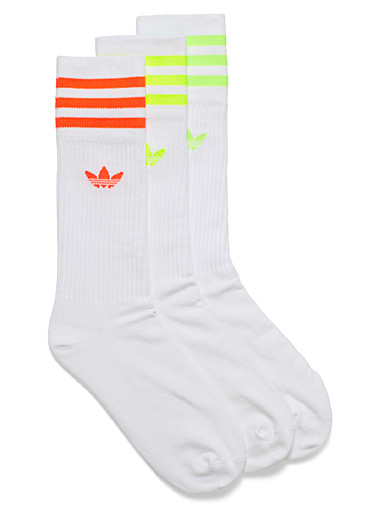 Neon three stripe socks <br>Set of 3