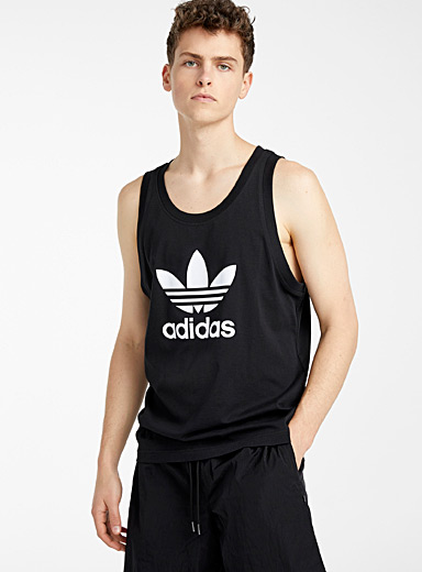 Adidas Originals Black Trefoil tank for men