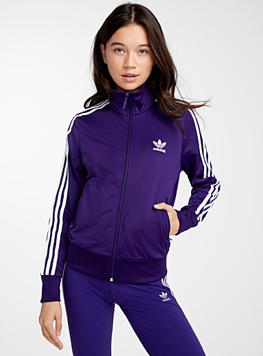 Stripe purple high neck jacket