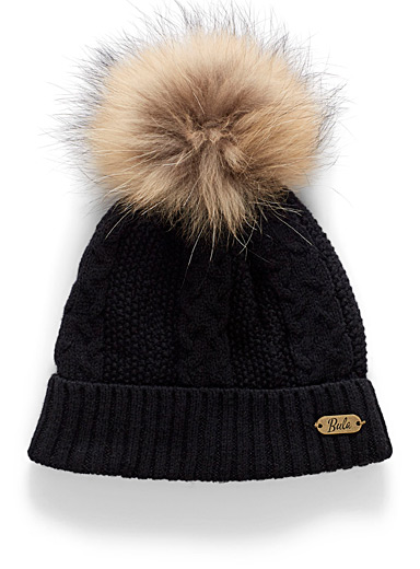 Wool-blend braided knit tuque