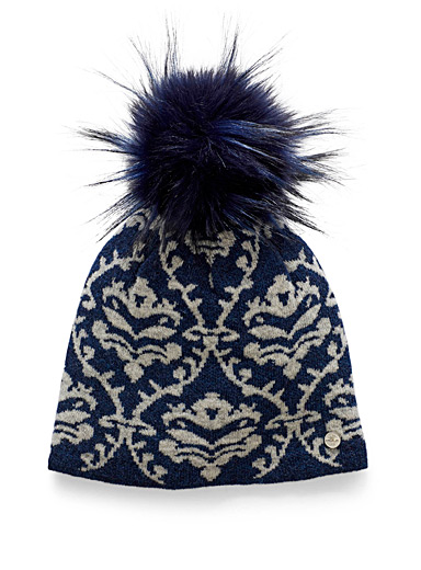 Removable pompom jacquard wool tuque