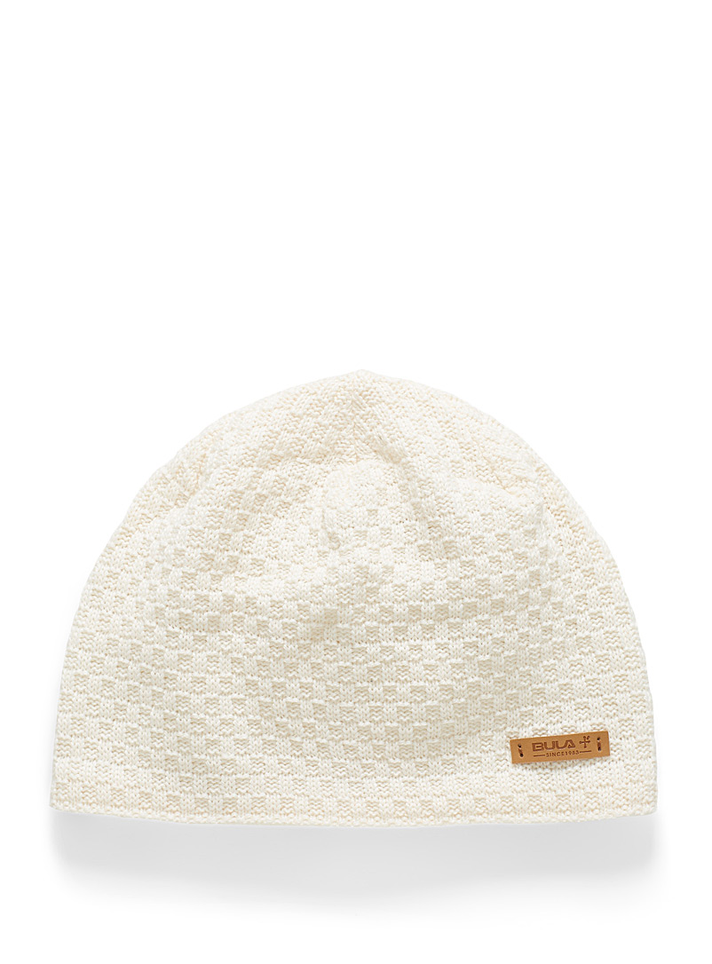 Bula Ivory White Roma fine check knit tuque for women