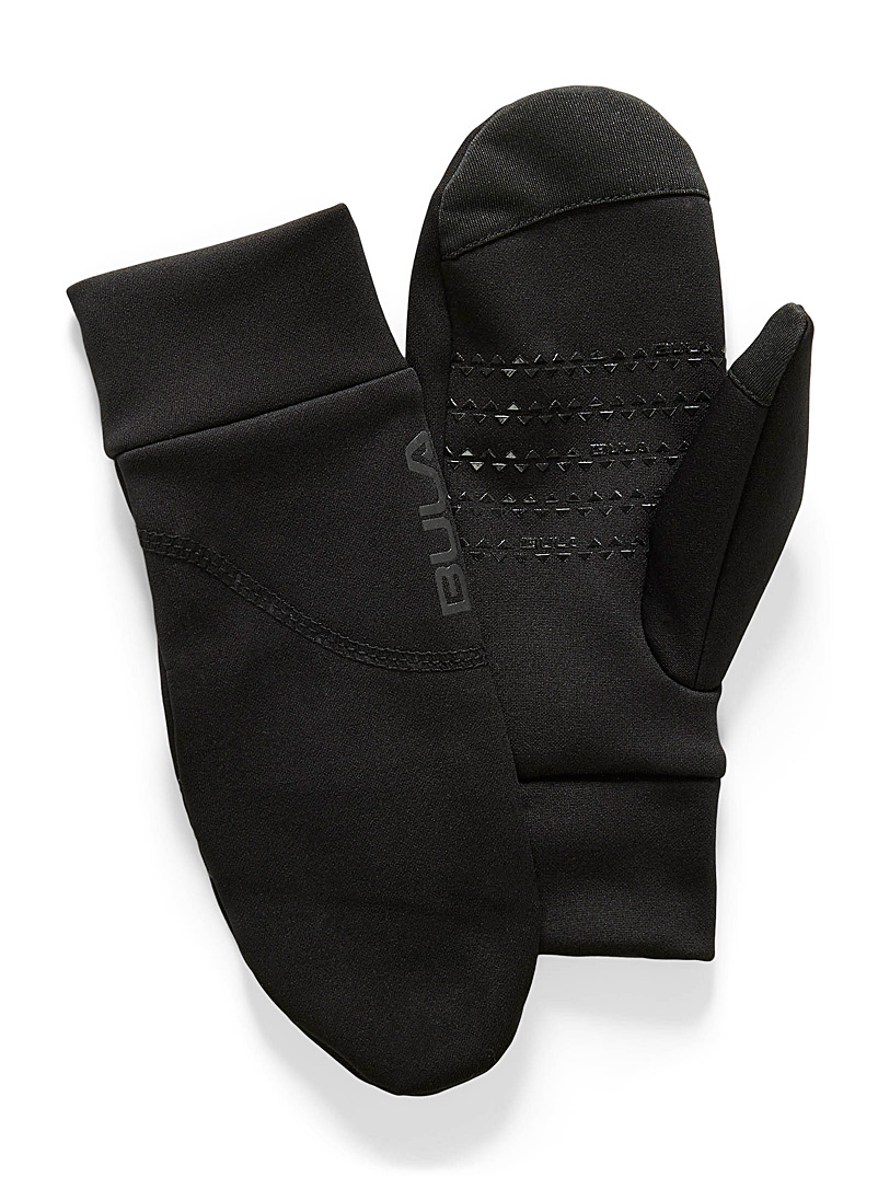 Bula Black Stretch microfleece mittens for women