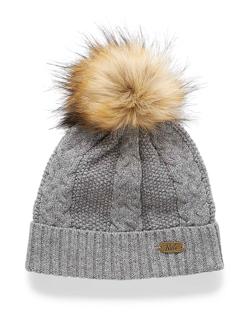Bula Grey Wool-blend braided knit tuque for women