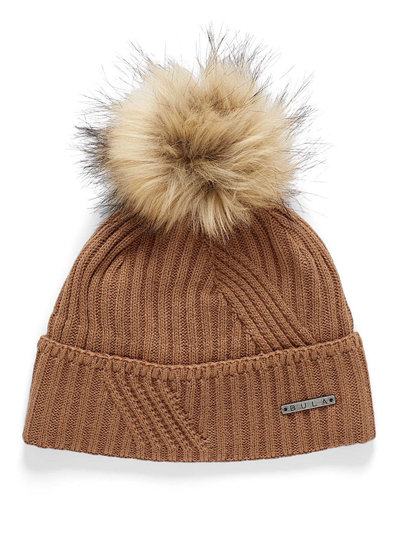 Bula Brown Edith pompom ribbed tuque for women